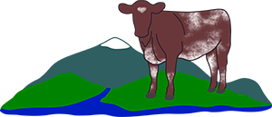 Logo. Cow standing on verdant hills by a stream.